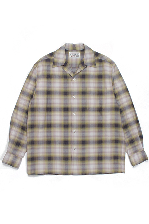 OMBRE CHECK OPEN COLLAR SHIRT L/S