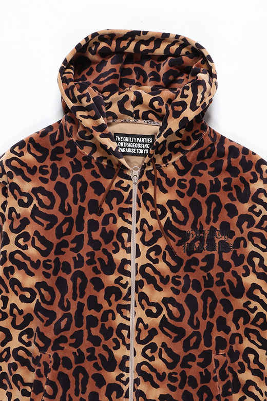 LEOPARD VELOUR HOODED JACKET